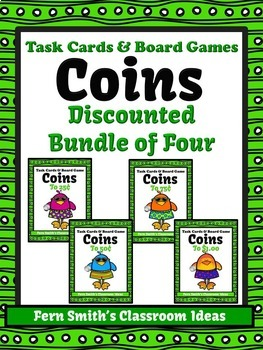 Money Task Cards and Board Game for Coins BUNDLE Recording
