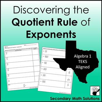 Exponents - Quotient Rule Discovery Activity