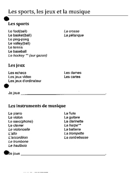 Discovering French 1 Bleu unit 5 lesson 15 sports games in