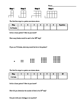 Discovering Quadratics worksheet