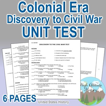 Discovery to Civil War Unit Test / Exam / Assessment (U.S.