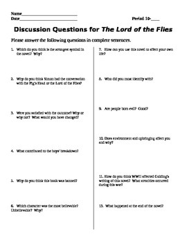 Discussion Questions for The Lord of the Flies