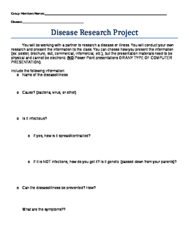 Disease Research Outline