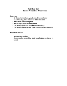 Disease prevention-Osteoporosis