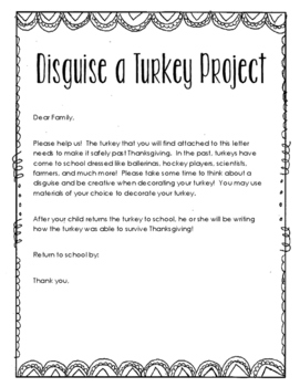Disguise a Turkey Project and Writing