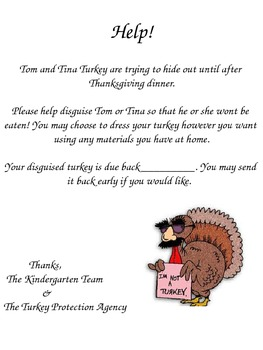 Disguised Turkey Parent Letter