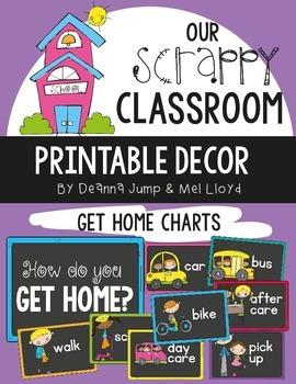 Dismissal: How We Go Home Chart and Bookbag Tags Chalkboar