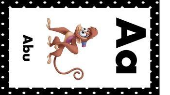 Disney Alphabet Cards Black Dots