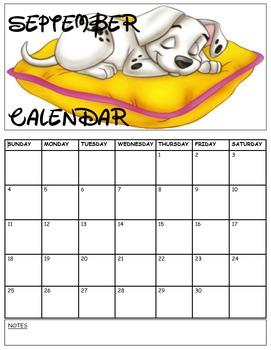 Disney Dalmation September Calendar
