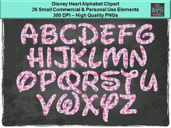 Disney Heart Alphabet - PNG Alphabet Digital Fonts