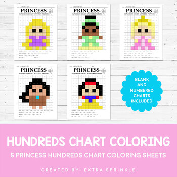 Disney Inspired Princess Hundreds Chart Coloring Pages