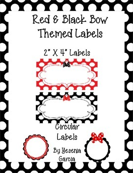 Bow Themed Labels (Editable) Set 1