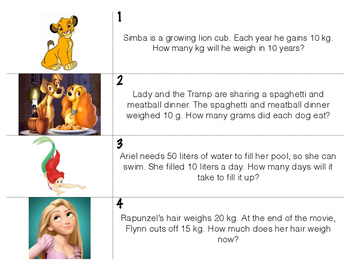 Disney Measurement Word Problems Write the Room