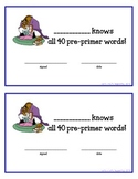 Disney Theme ~ Dolch Word Certificates