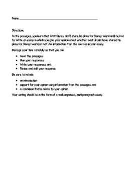 Disney World - ELA Opinion Writing Assessment