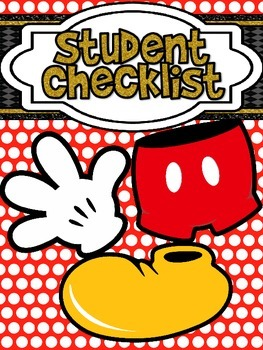 Mickey Themed Red Polkadot Student Checklist