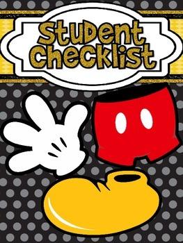 Mickey Themed Black Polkadot Student Checklist