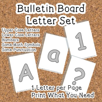 Printable display bulletin letters numbers and more: Grey
