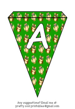 Printable bunting display bulletin letters numbers and more: Owl