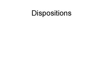 Dispositions: Definitions and Examples
