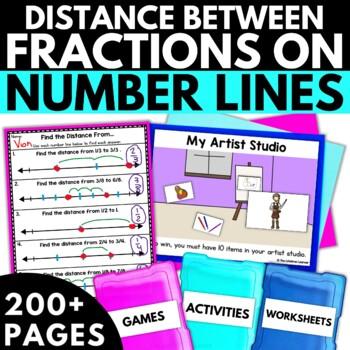 Third Grade Distance Between Fractions on Number Lines