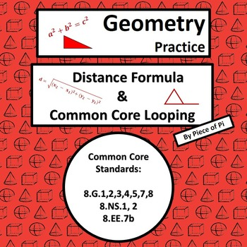 Distance Formula Pythagorean Theorem Common Core Spiraling