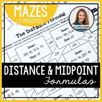 Distance Formula and Midpoint Formula Mazes