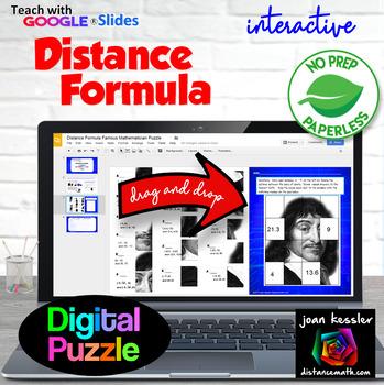 Distance Formula Famous Mathematician Puzzle with Google Slides