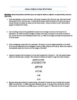 Distance, Midpoint, Slope Word Problems