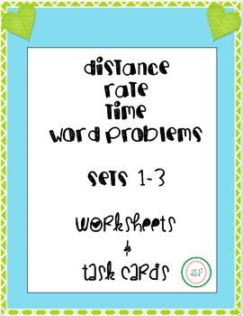 Distance-Rate-Time Worksheet & Task Card BUNDLE - all levels!