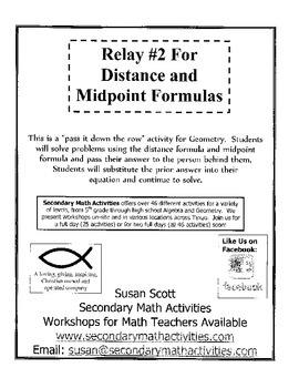 Distance and Midpoints Formulas RELAY #2 - Geometry