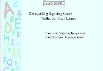 Distinguishing Beginning Sounds- Phonemic Awareness