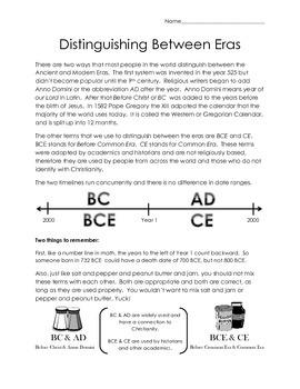 Timelines: Distinguishing Between Eras Mini Lesson and Worksheet