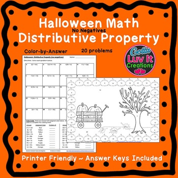 Halloween Fall Distributive Property No Negatives Color by