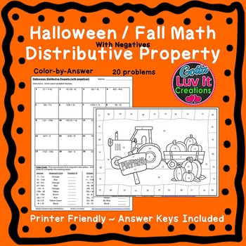 Halloween Fall Distributive Property (Negatives) Color by