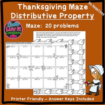 Thanksgiving Fall Distributive Property No Negatives Maze