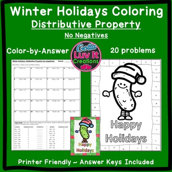 Christmas Activity: Distributive Property No Negatives Col