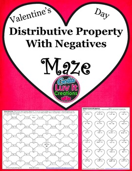 Valentine's Day Distributive Property Maze (includes negatives)