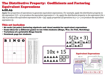 Distributive Property Cards Factoring Algebraic Expression