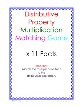 Distributive Property Fact Puzzle x11