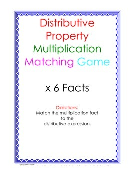 Distributive Property Fact Puzzle x6