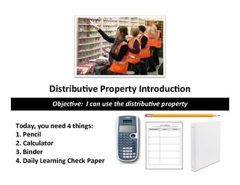 Distributive Property Introduction Lesson