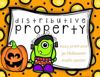 Distributive Property Math Center - Halloween Themed