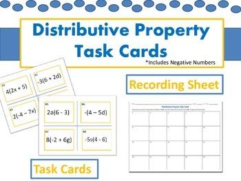Distributive Property Task Cards (Includes Editable Version)