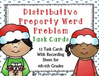Distributive Property Word Problem Task Cards: Holiday Edi