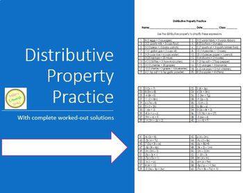 Distributive Property Worksheet or Assessment