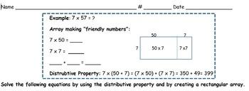 Distributive Property and Arrays Worksheet