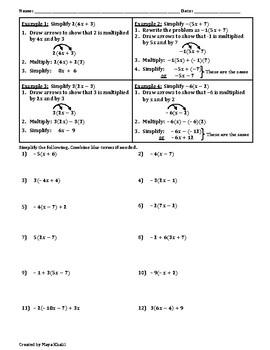 Distributive Property/Combining Like-Terms Worksheet II