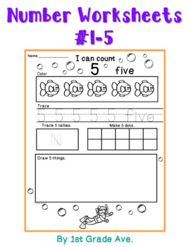 Number Workbook 1-10 Dive Into Numbers Ocean Theme! Free
