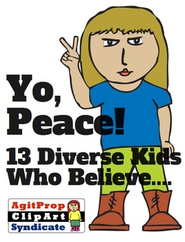Diverse ClipArt of Kids Flashing Peace Sign - 13 different kids
